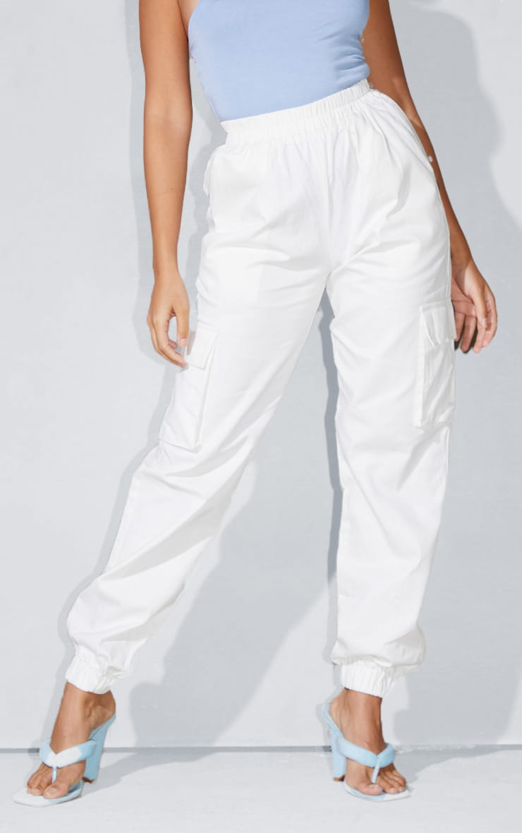 Petite White Cargo Detail Pants 2