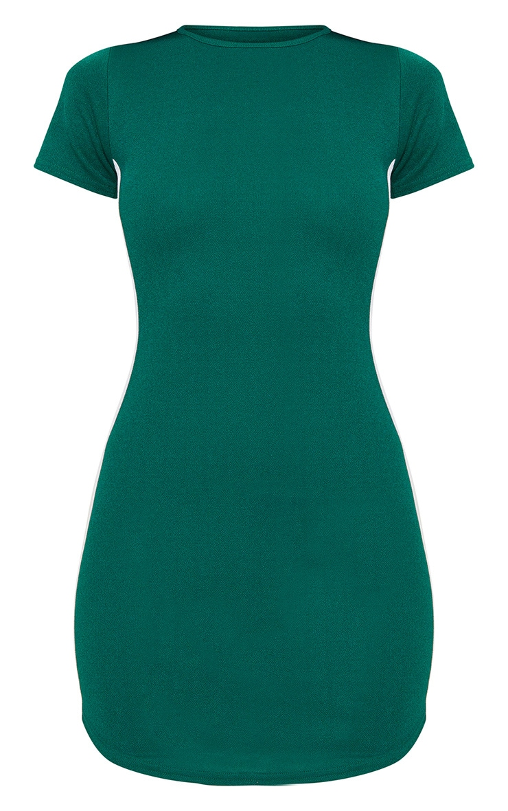 Emerald Green Cap Sleeve Curve Hem Sports Stripe Bodycon Dress  3