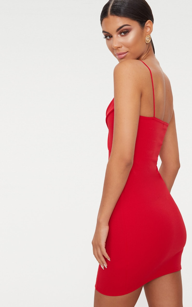 Red Strappy Tux Bodycon Dress 2