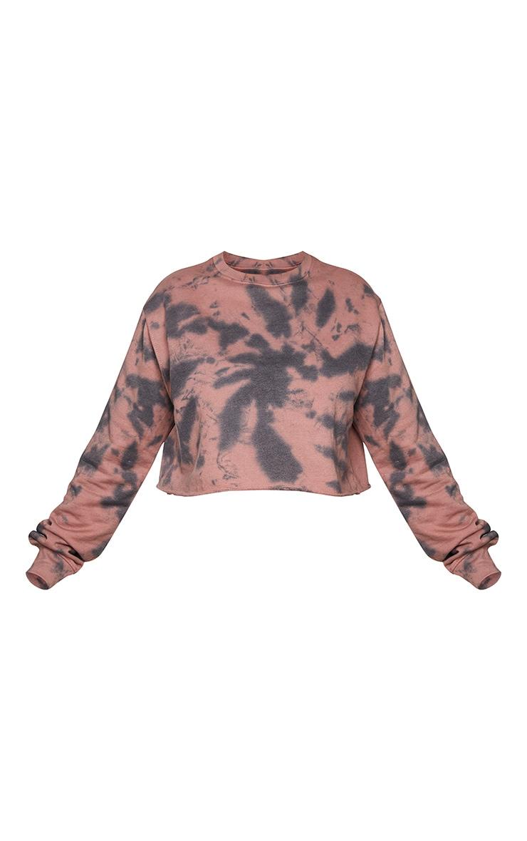 Plus Rust Tie Dye Cropped Sweater 5