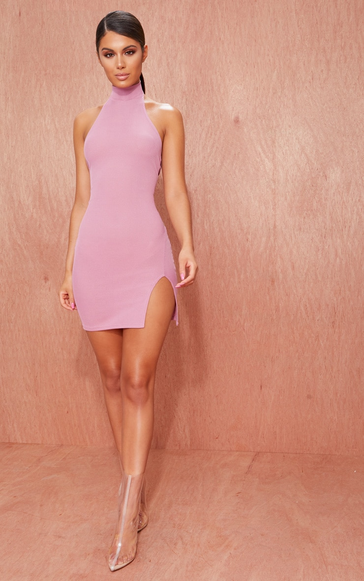 Basic Mauve Ribbed High Neck Split Detail Bodycon Dress 1