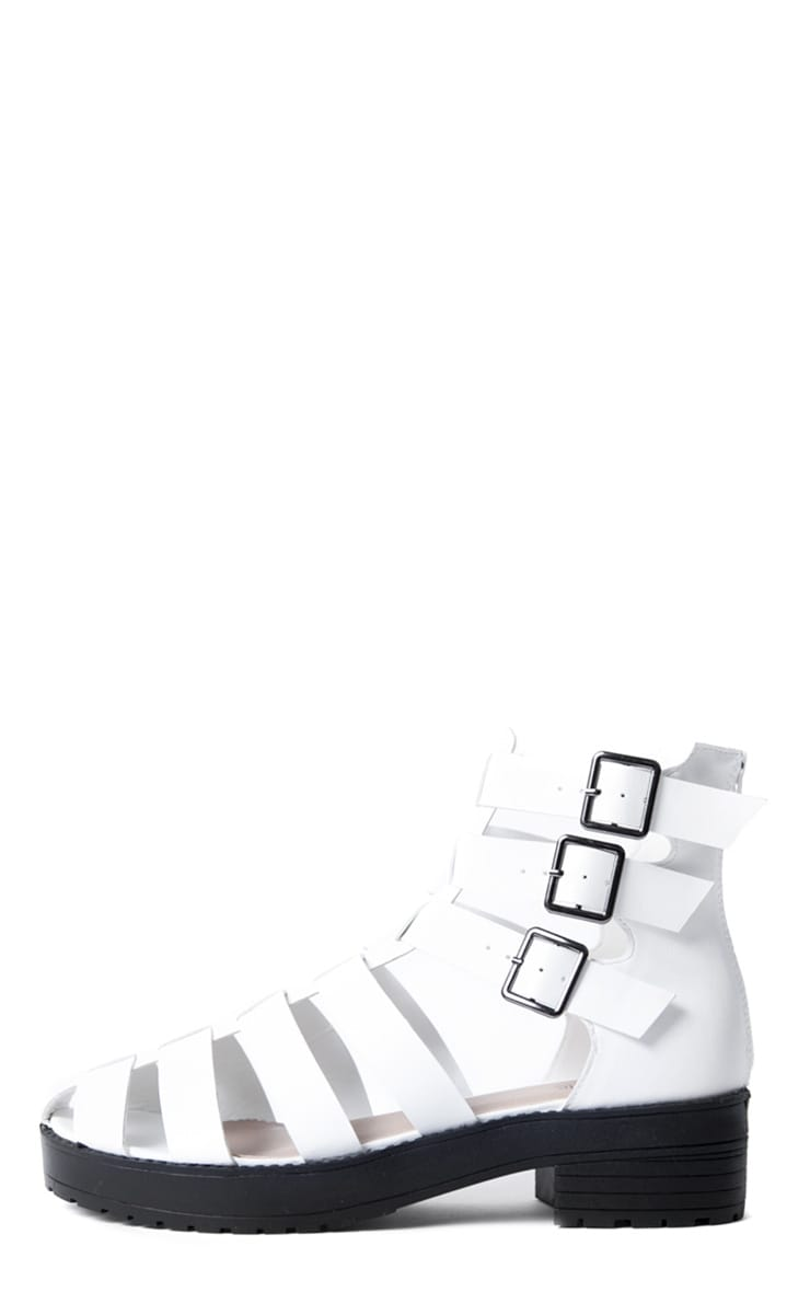 Riley White Three Buckle Roman Sandal  1