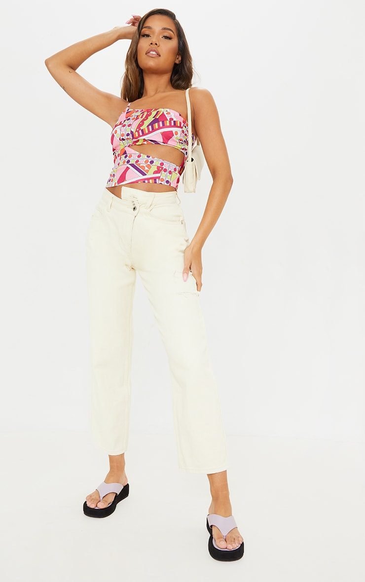 Pink Abstract Print Woven Linen Look One Shoulder Cut Out Crop Top 3