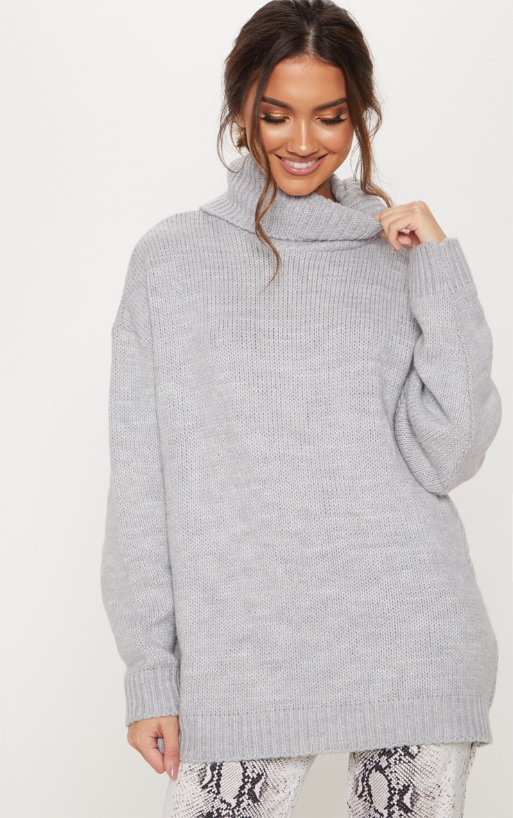 Grey High Neck Fluffy Knit Sweater  4