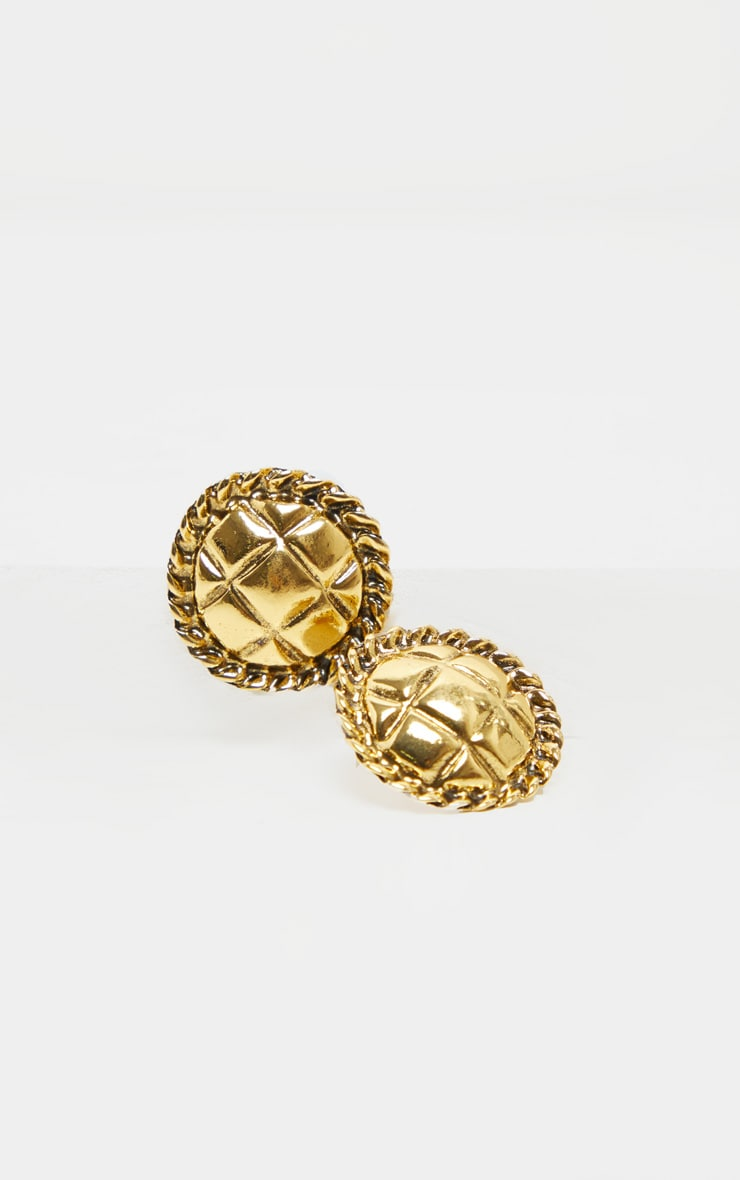 Gold Quilted Effect Round Stud Earrings 4