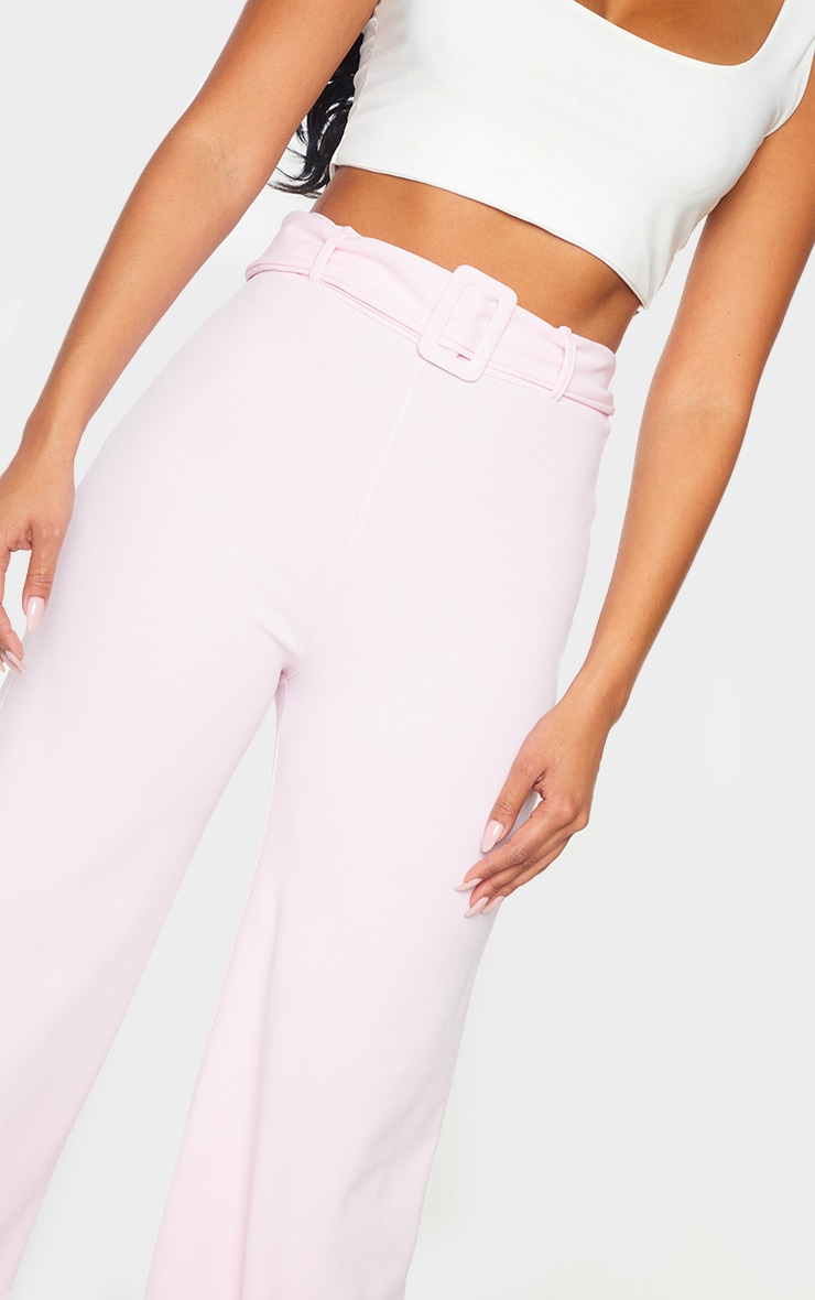 Pink Wide Leg Belted Pants 4