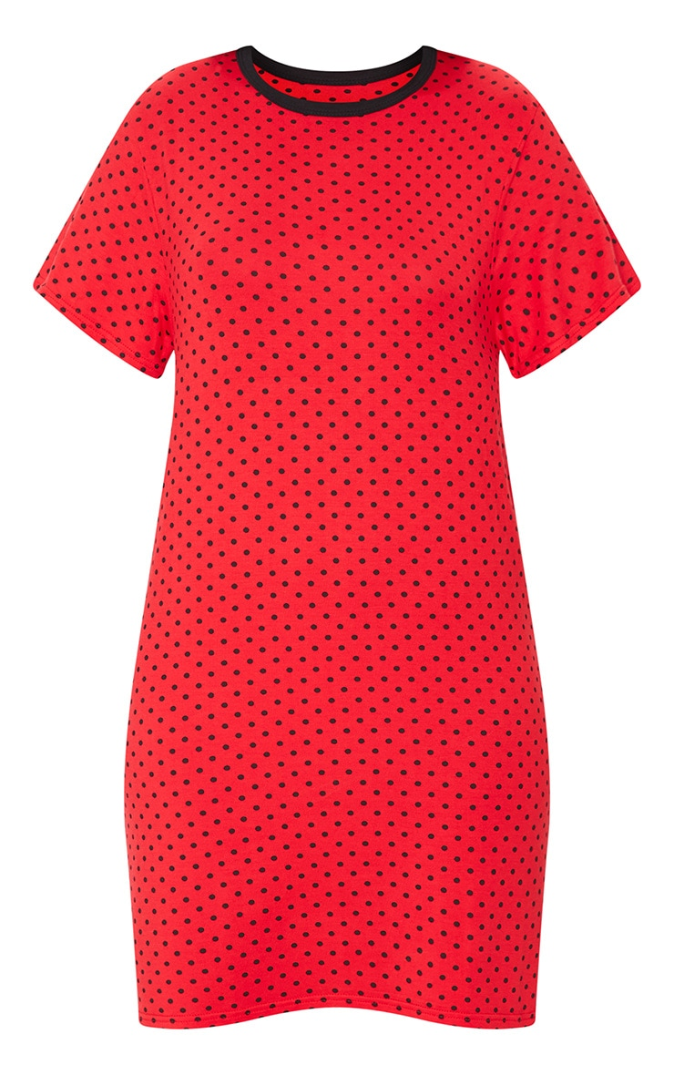 Red Polka Dot Print Oversized T Shirt Dress 5