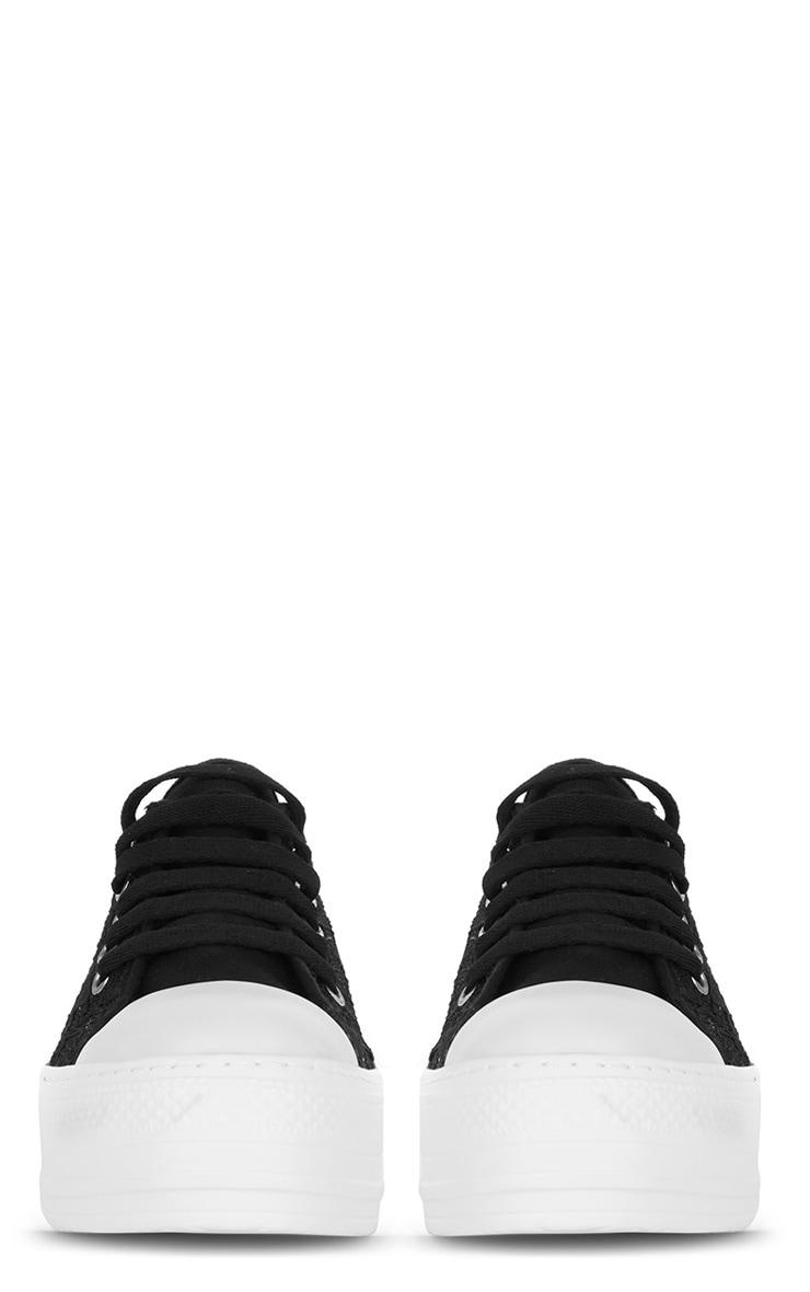 Gloria Black Lace Plimsoll Flatform 3