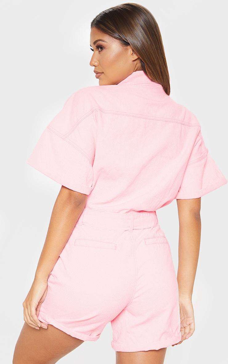 Pink Popper Detail Tie Waist Denim Romper  2