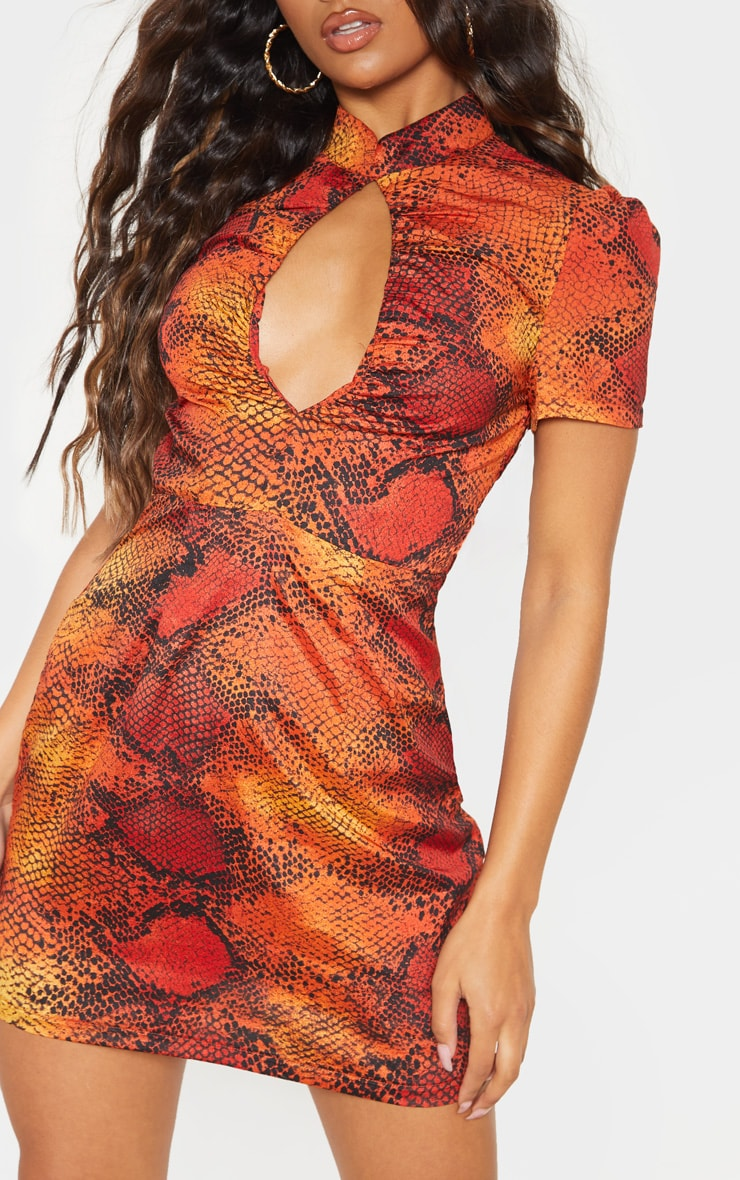 Orange Snake Print Ruched Key Hole Shift Dress 5