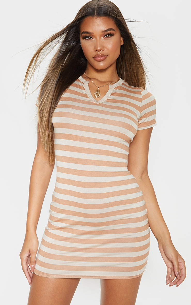Nude Stripe Cut Neck Bodycon Dress 1