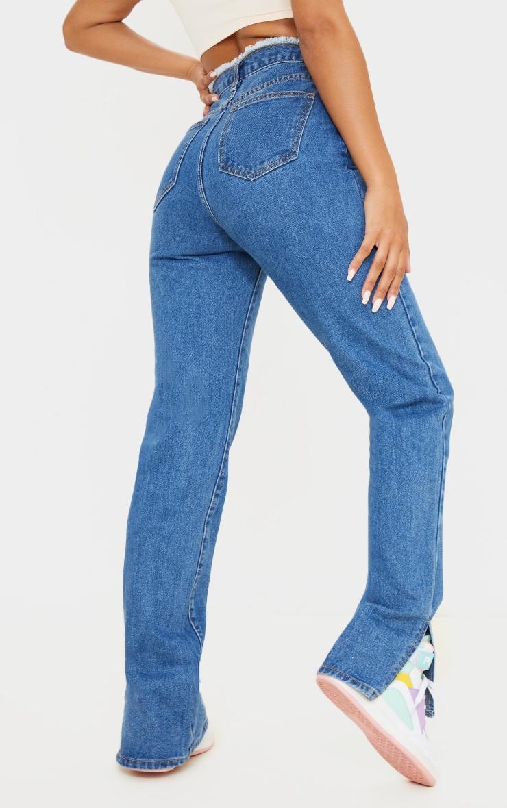 Mid Blue Wash Ripped Waistband Split Hem Jeans 3
