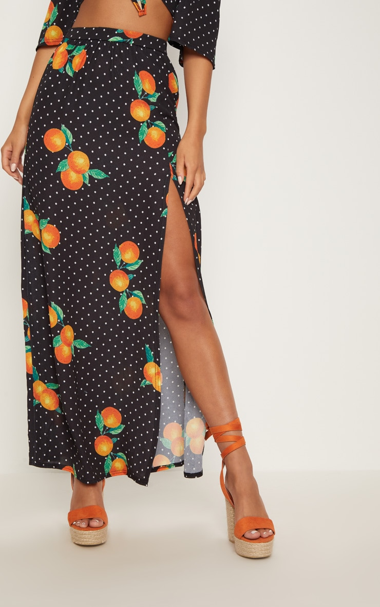 Black Polka Dot Printed Slit Front Maxi Skirt 3