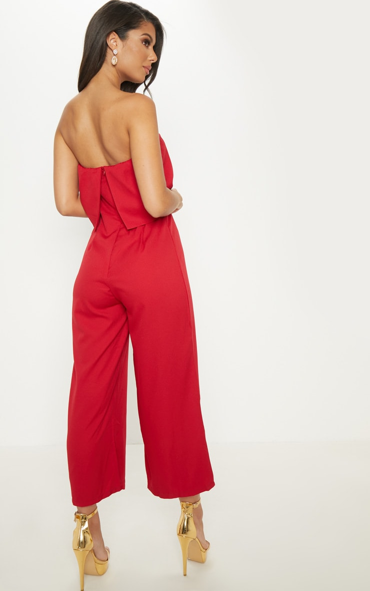 Red Bandeau Fold Detail Wide Leg Culotte Jumpsuit 2