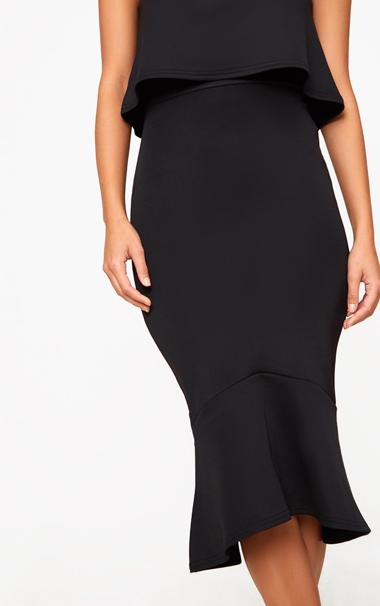 Black Bandeau Frill Hem Midi Dress 5