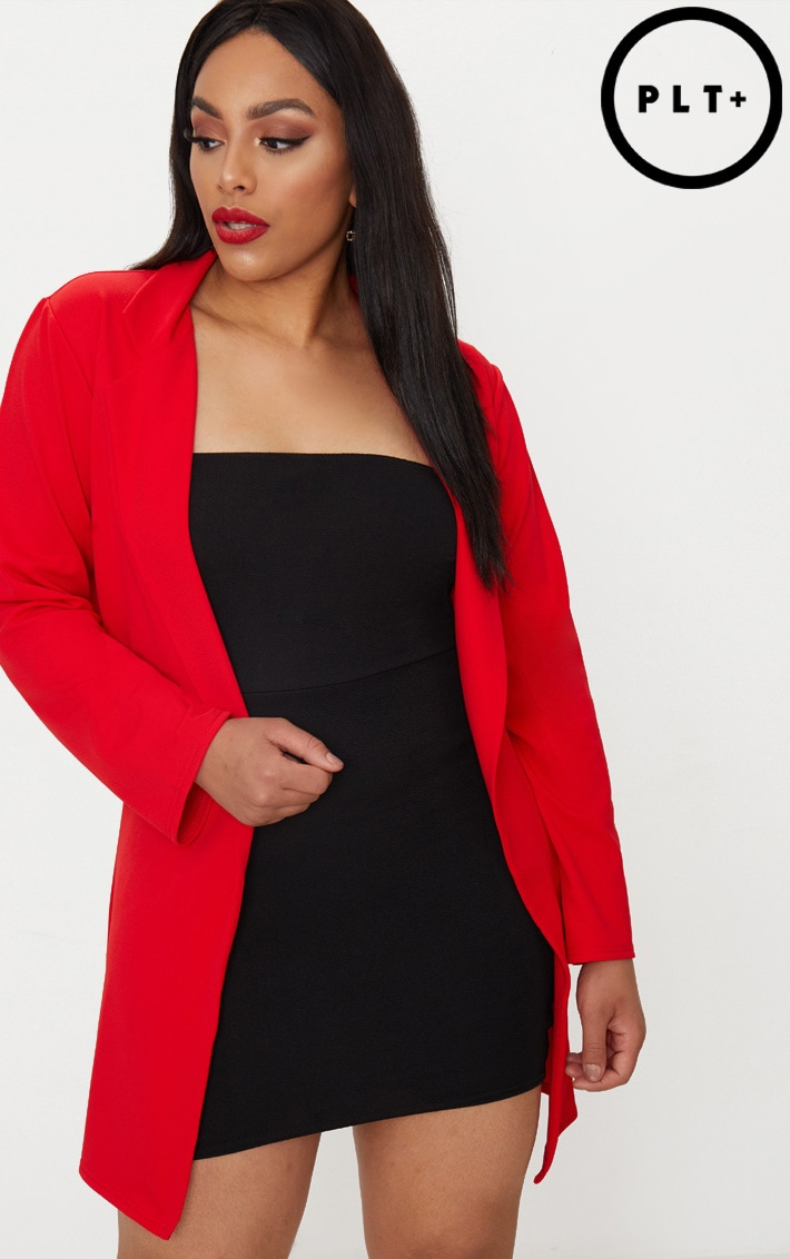 Plus Red Longline Blazer