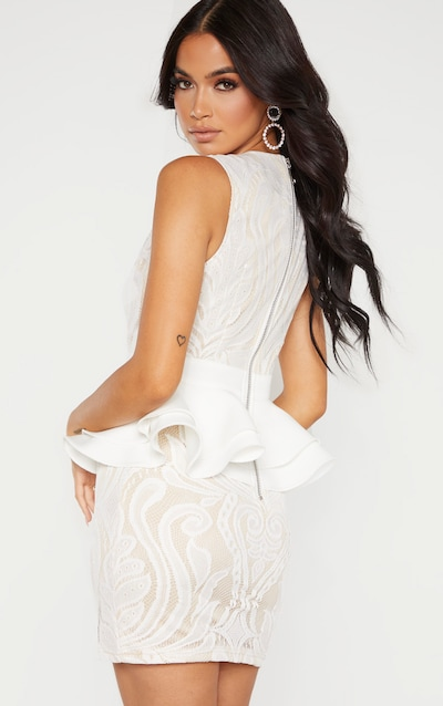 White Ruffle Detail Plunge Bodycon Dress