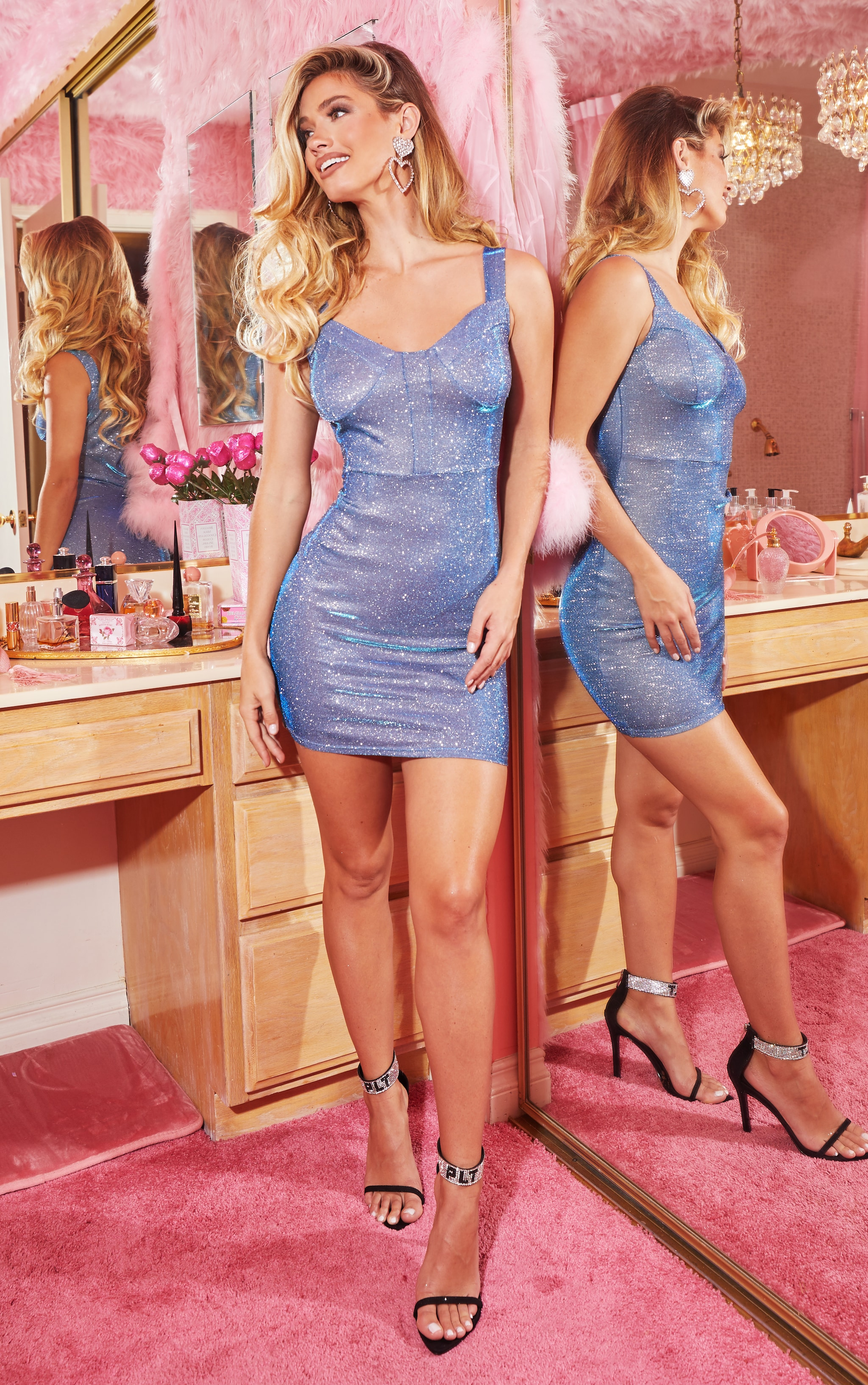 Blue Glitter Thick Strap Cup Detail Bodycon Dress 4