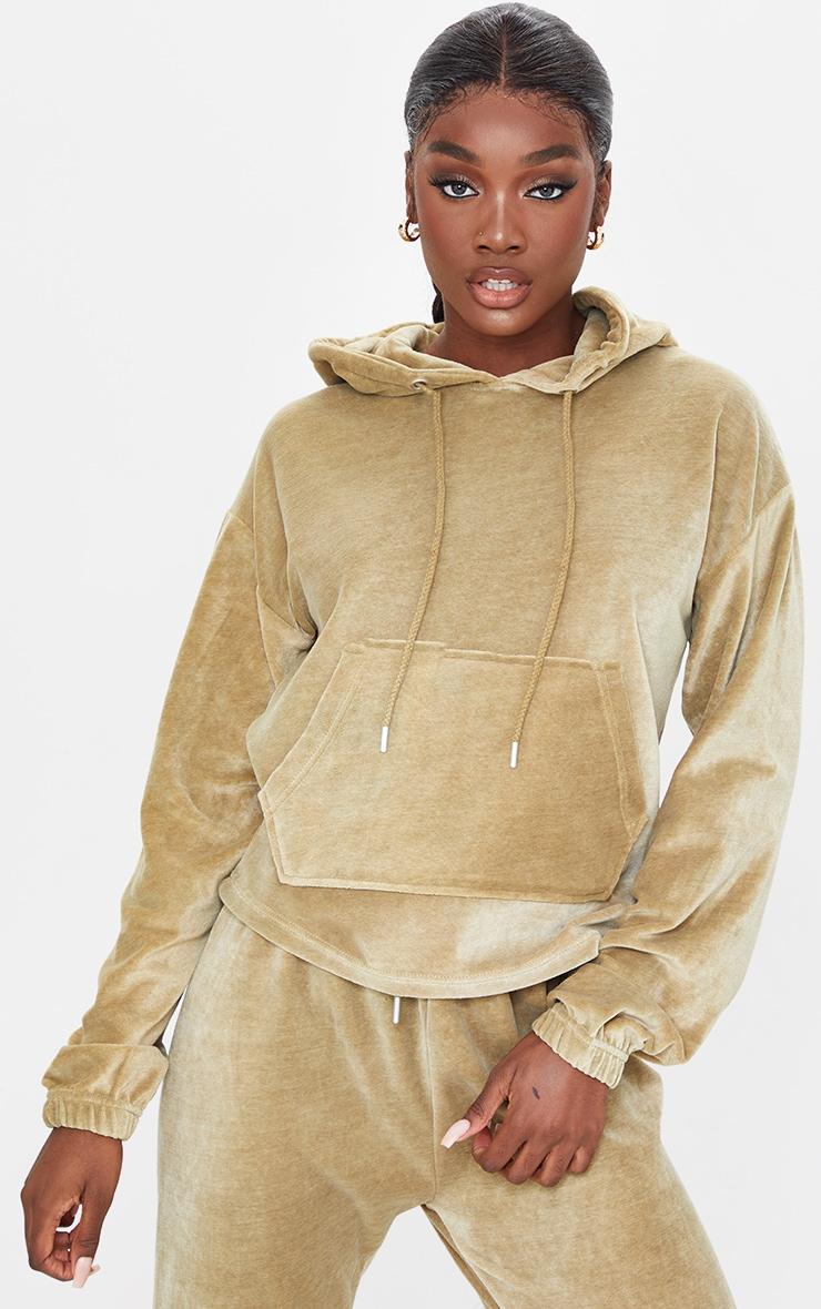 Tall Khaki Velour Cropped Hoodie 1