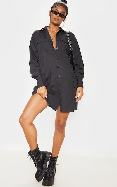 Black Pocket Detail Long Sleeve Shirt Dress