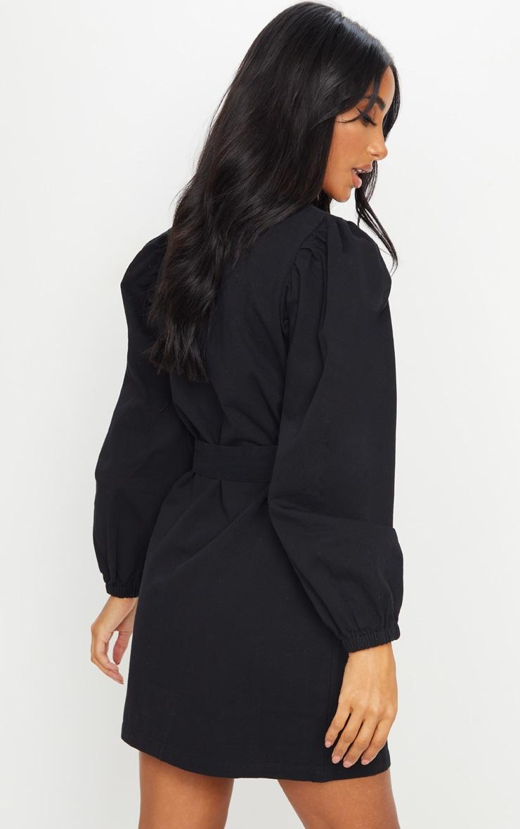 Black Button Through Balloon Sleeve Belted Denim Dress 2