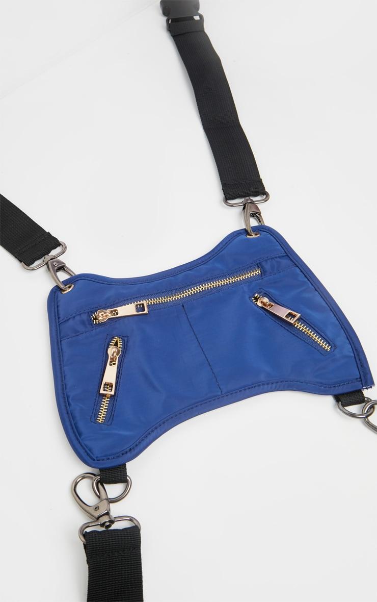 Blue Nylon Messenger Harness Bag 2