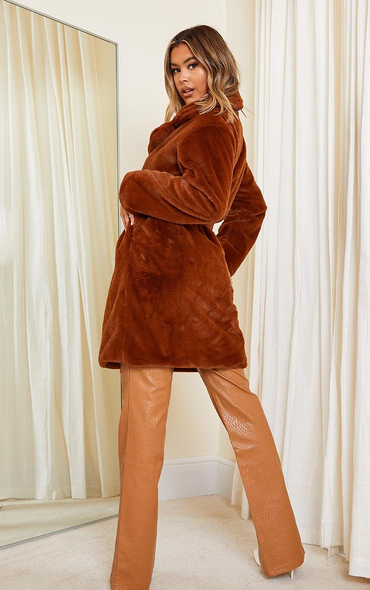 Tan Soft Faux Fur Belted Midi Coat 2