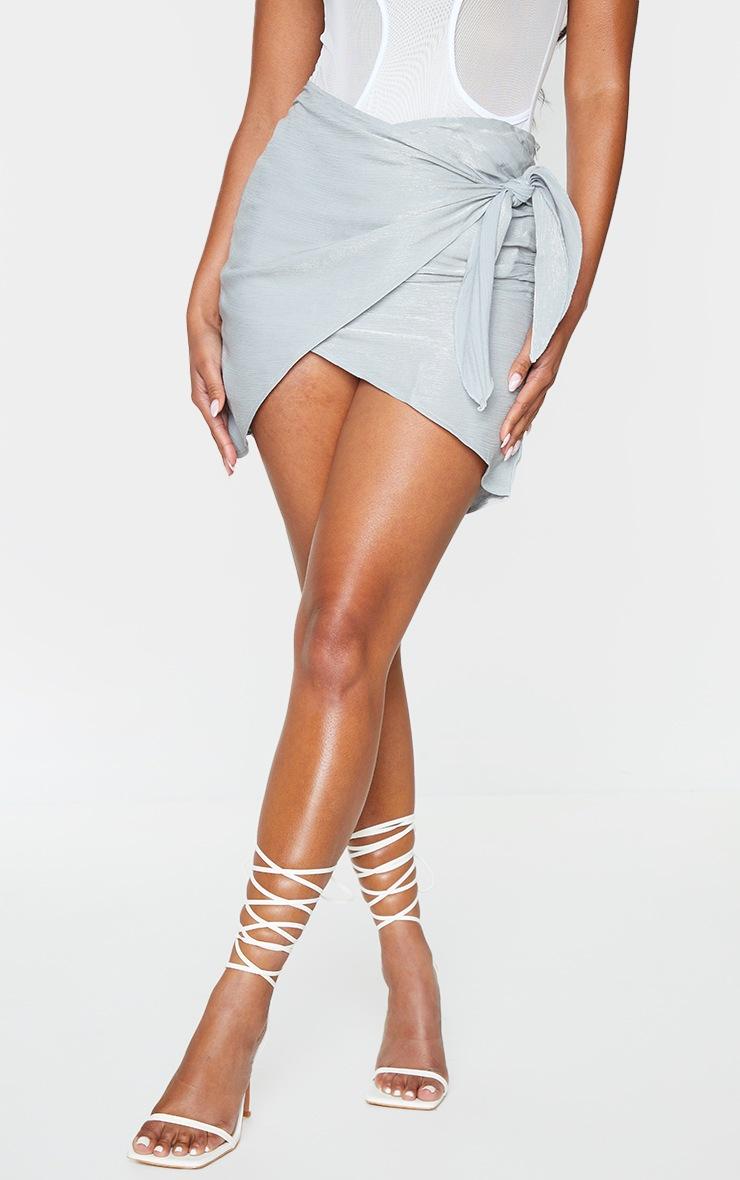 Grey Shimmer Wrap Over Woven Tie Waist Mini Skirt 2