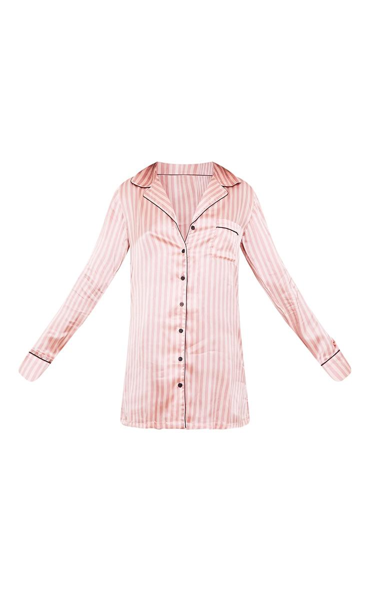 Pink Satin Striped Night Shirt 5