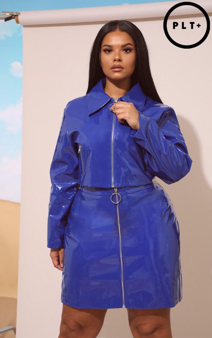 Plus Cobalt Vinyl Zip Front Mini Skirt 1