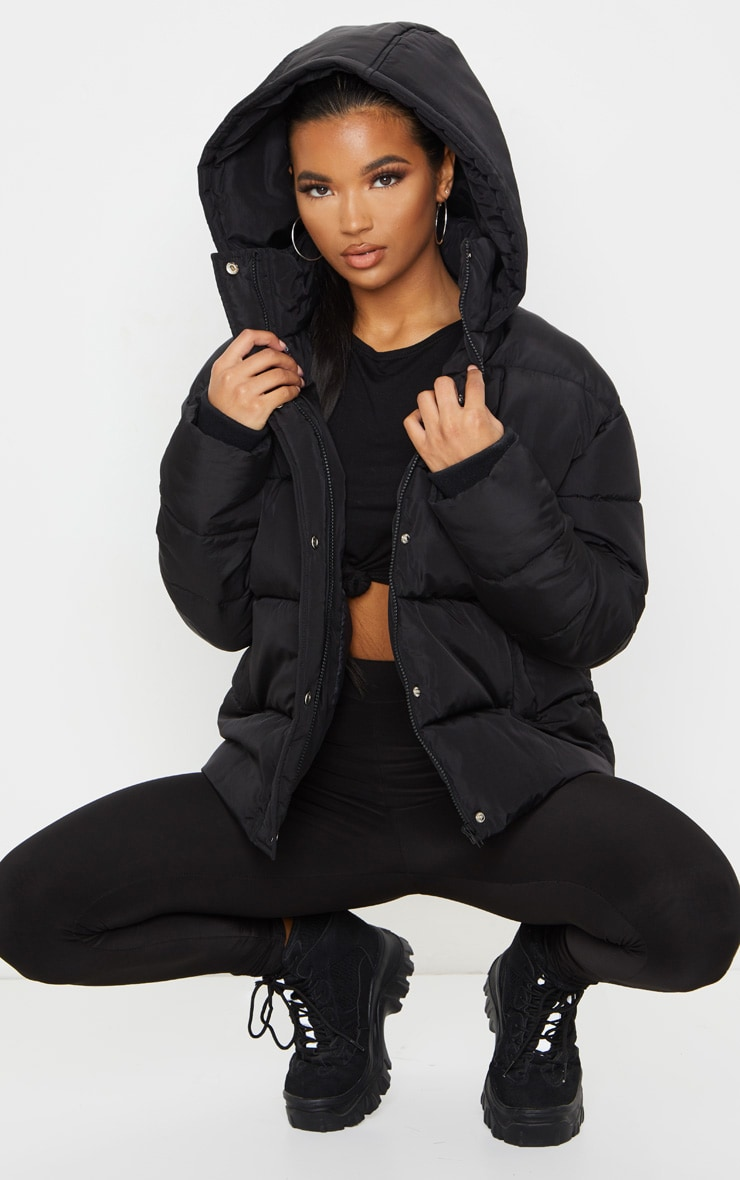 Black Hooded Puffer Jacket 3