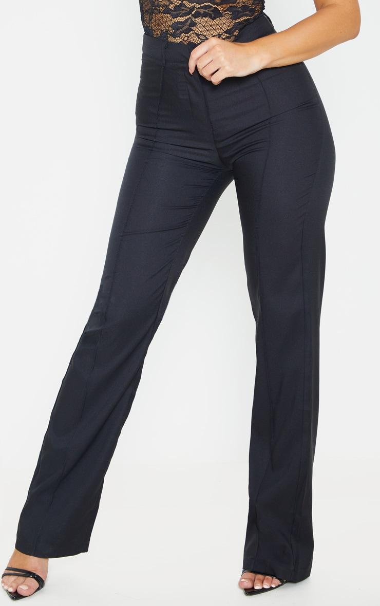Black Straight Leg Tailored Trousers 2
