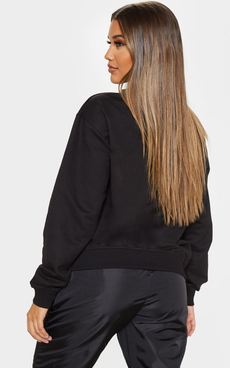Black Zip Front Oversized Sweater 2