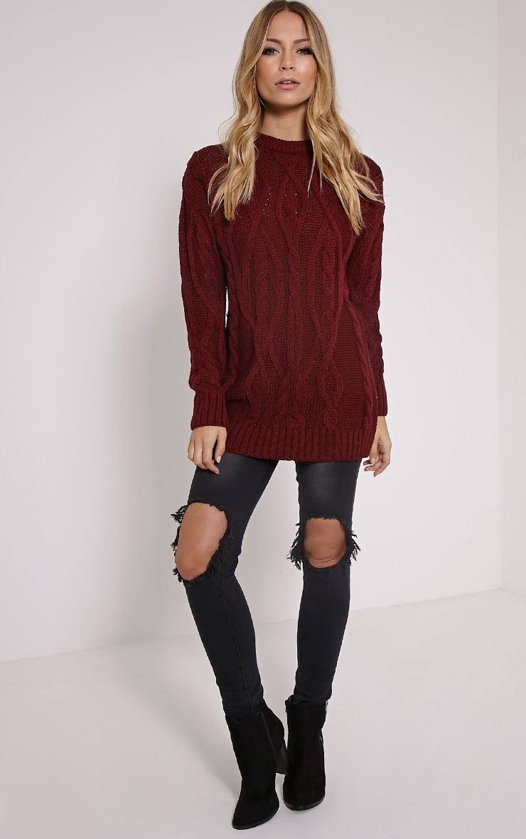 Moon Wine Cable Knit Mid Jumper 3