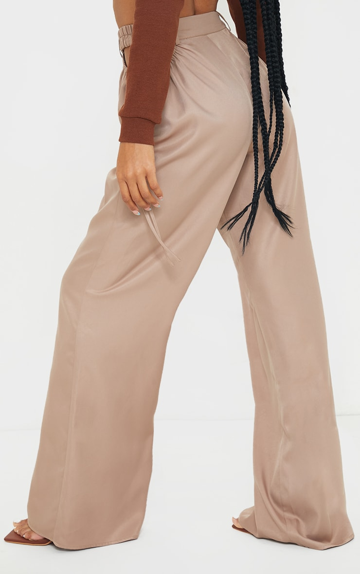 Taupe Woven Cut Out Tie Detail Wide Leg Trousers 3