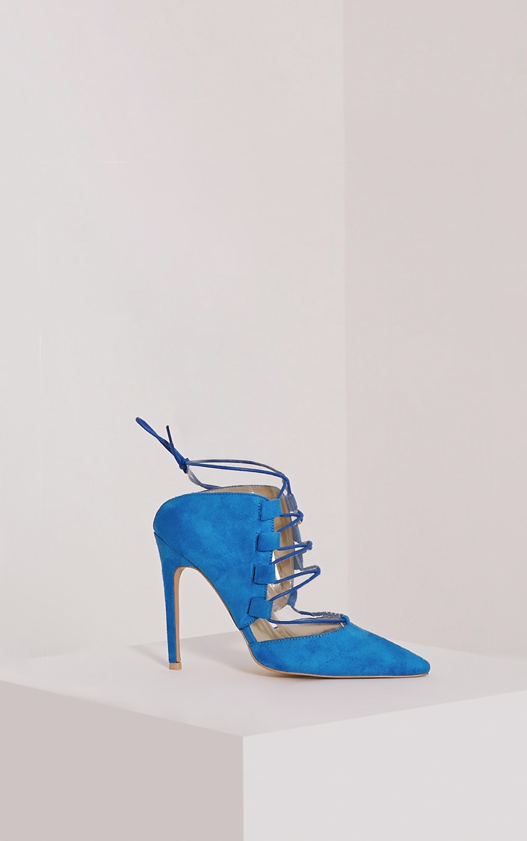 Torro Cobalt Faux Suede Lace Up Heels 3