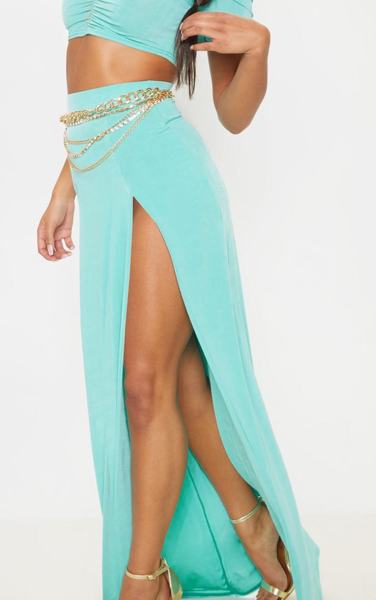 Light Blue Slinky Double Split Leg Maxi Skirt 6