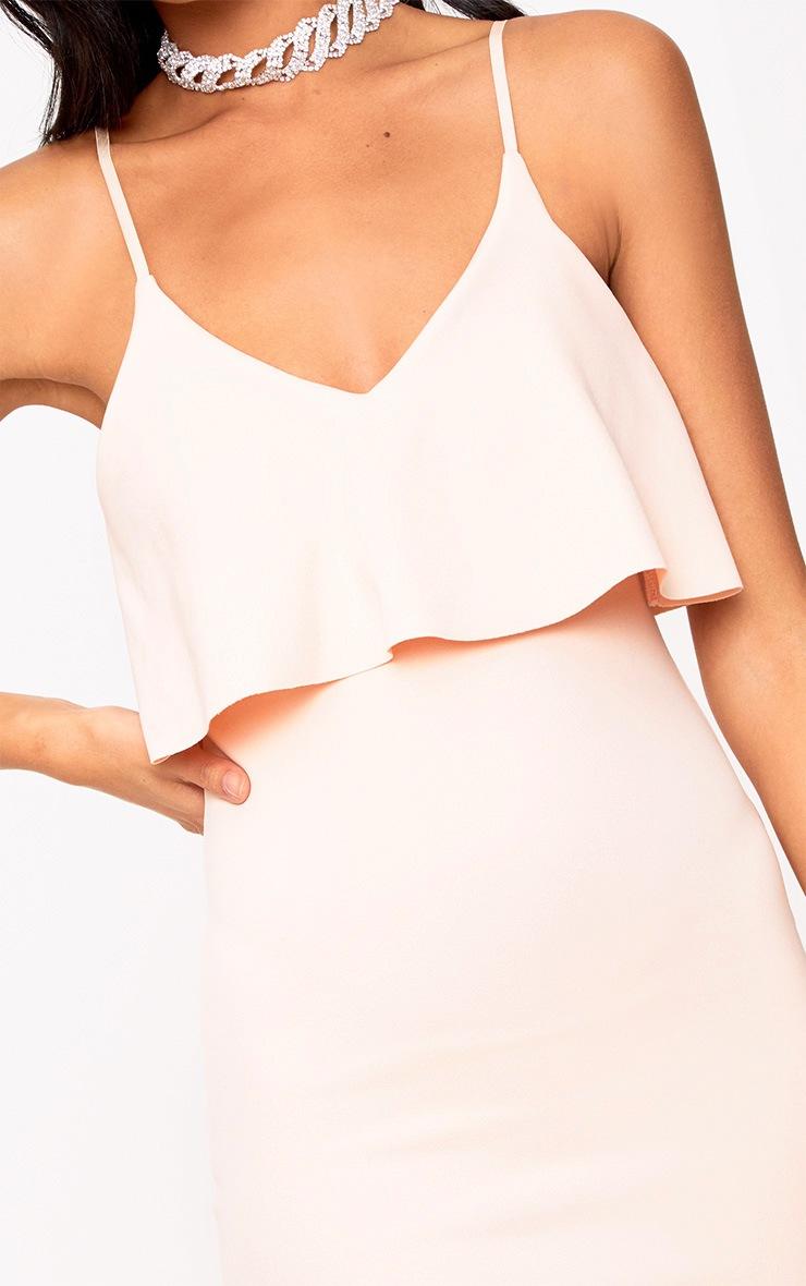 Nude Fril Overlay Bodycon Dress 5