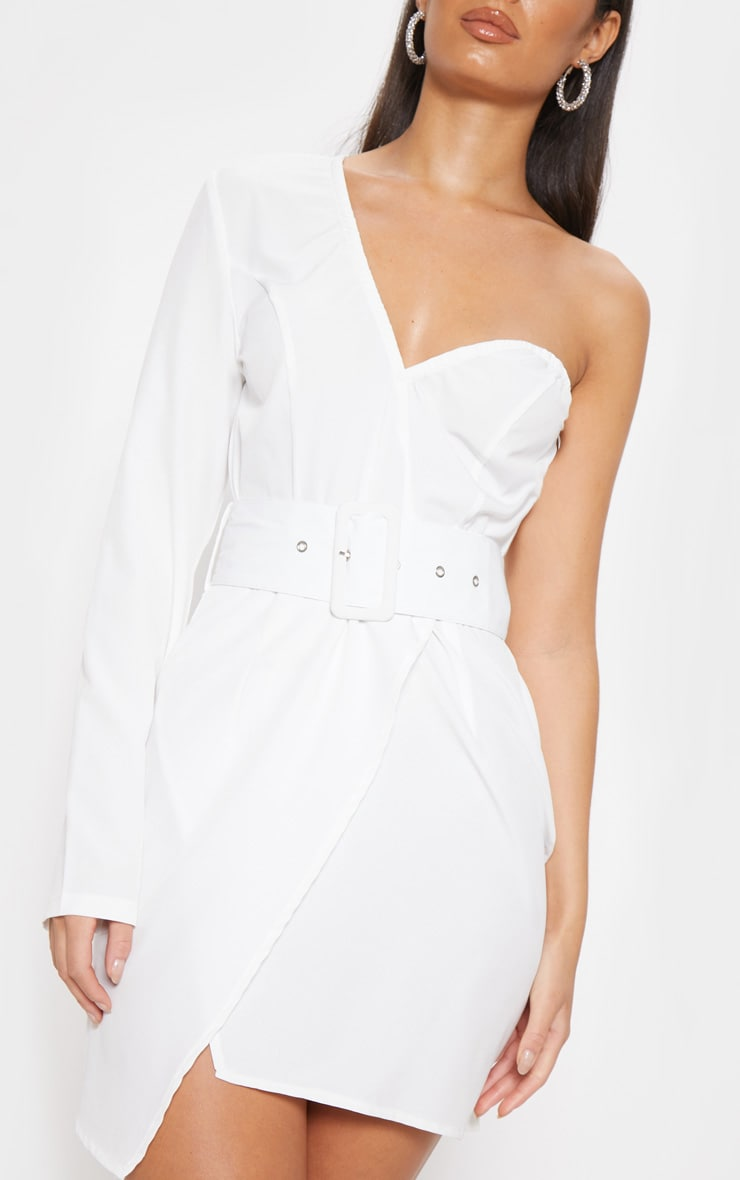 White One Shoulder Belted Bodycon Dress 5