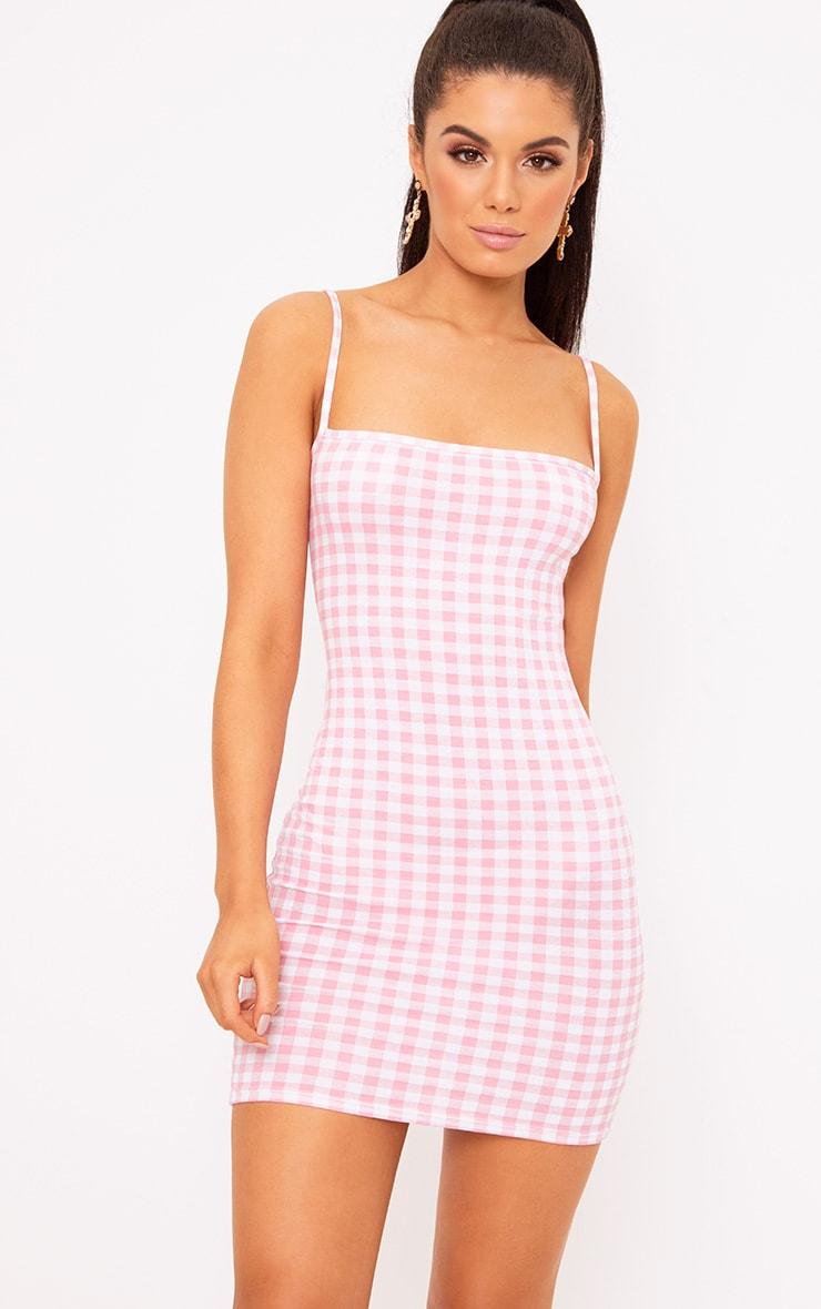 Minnie Pink Gingham Bodycon Dress 1