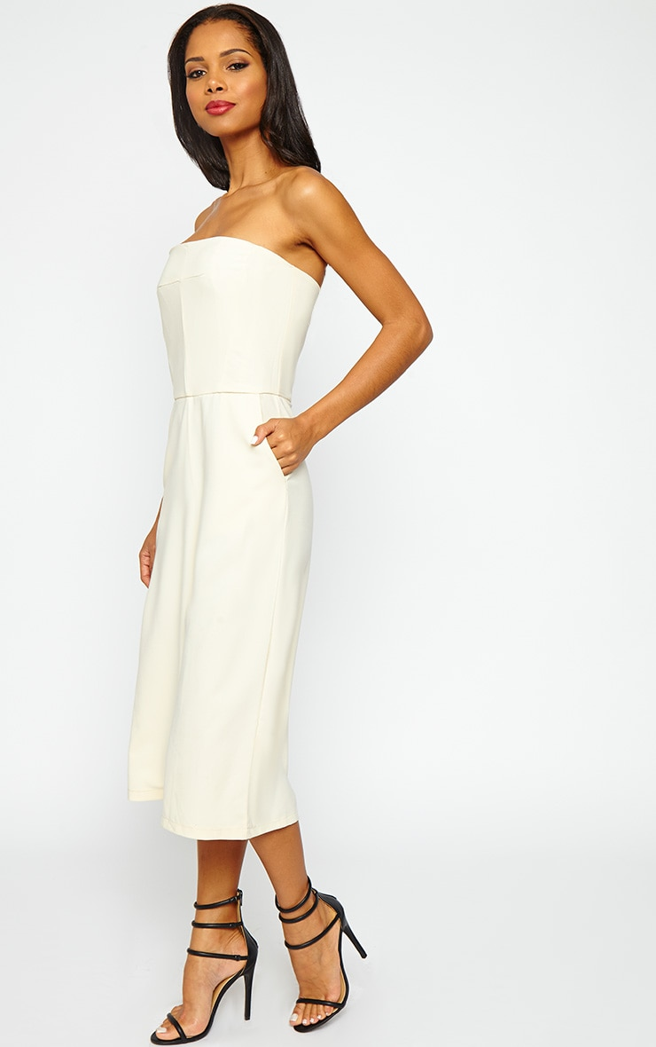 Ethelyn Cream Bandeau Culotte Jumpsuit 3