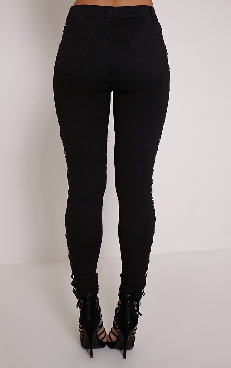Alida Black Lace Up Side Jean 4