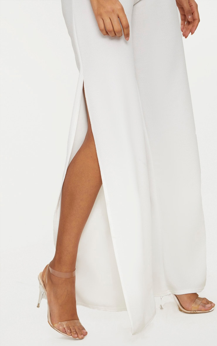 White Split Detail Wide Leg Trousers 5