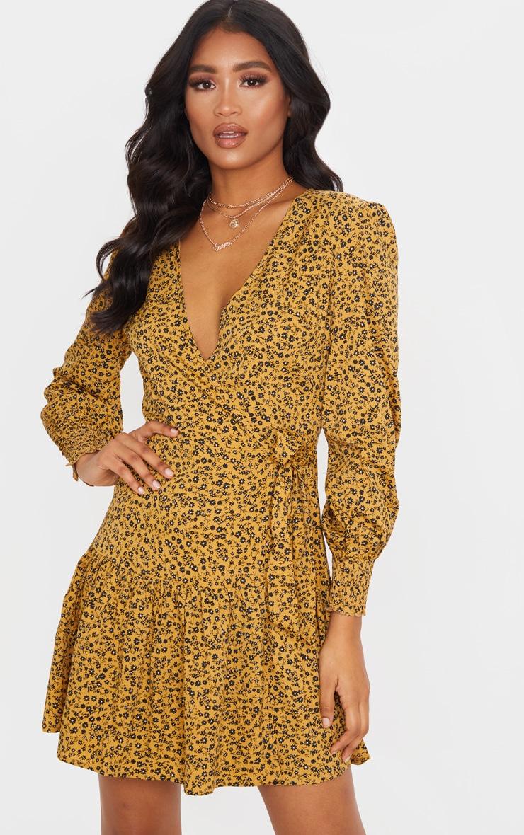 Mustard Ditsy Floral Frill Hem Wrap Front Tea Dress 1