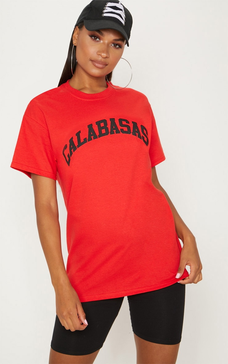 Red Calabasas Slogan Oversized T Shirt  1