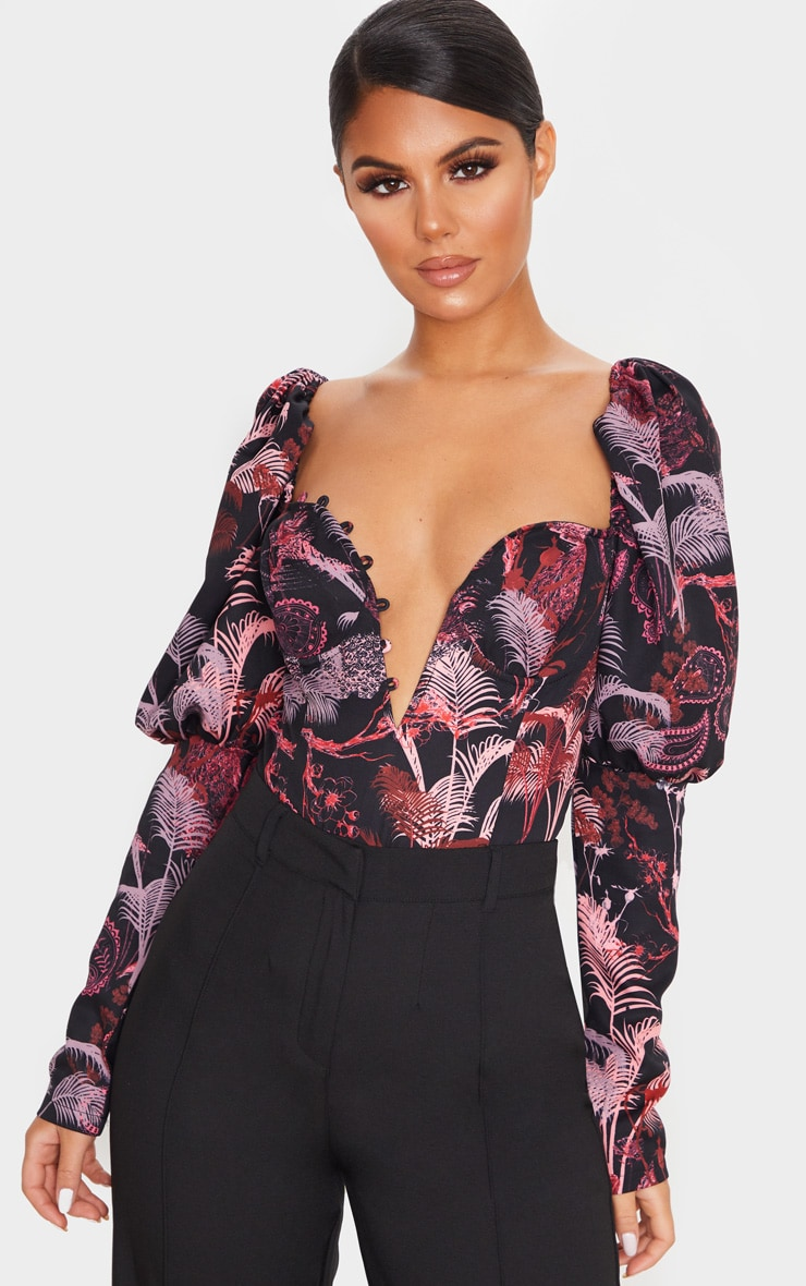 Red Print Woven Puff Sleeve Button Loop Detail Body 1