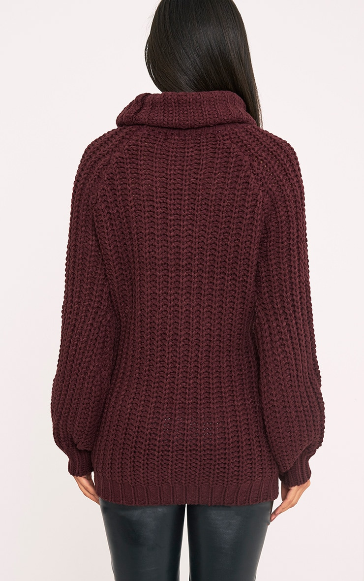 Shainel Burgundy Roll Neck Chunky Knit Jumper 2