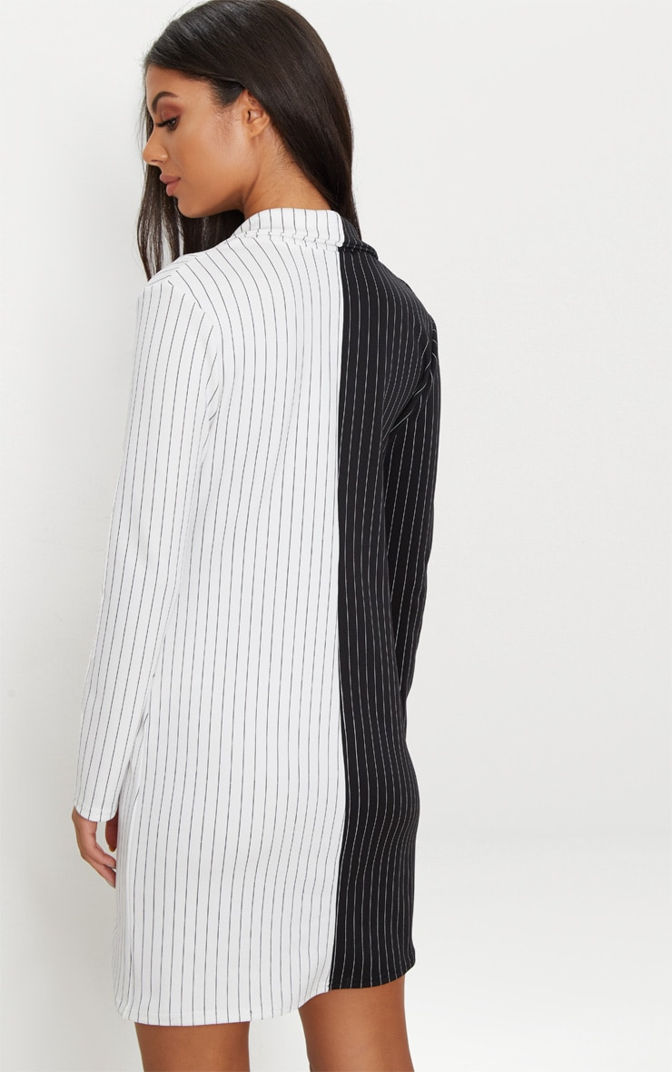 Black Stripe Contrast Detail Blazer Dress 2