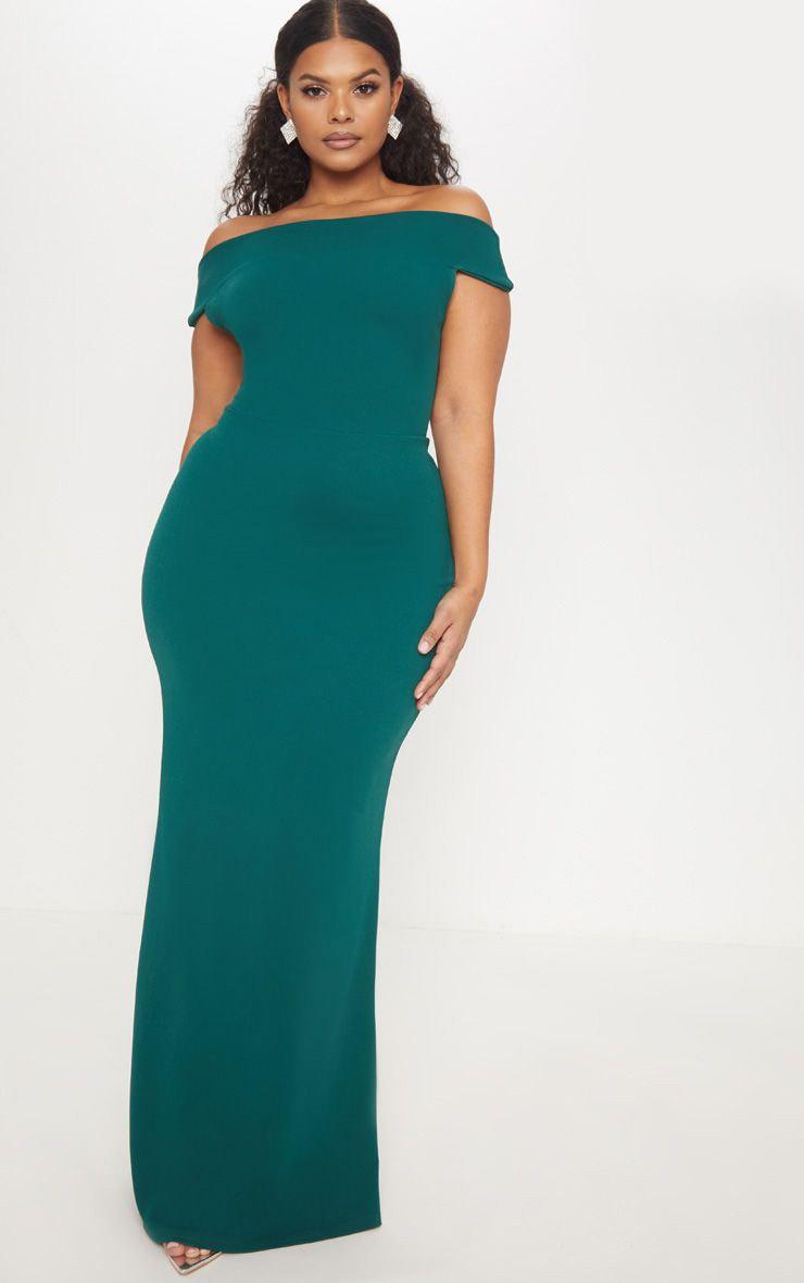 Plus Emerald Green Bardot Maxi Dress 1