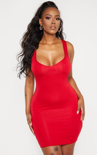 1a6e22146 Shape Red Jersey Bust Cup Strappy Bodycon Dress PrettyLittleThing Sticker